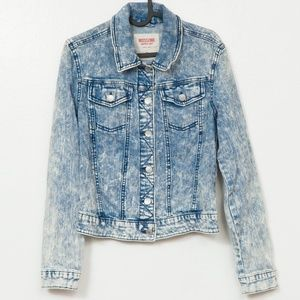 Acid Wash Denim Jean Jacket M Womens Button Down